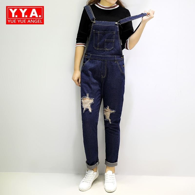 Autumn Korean Star Hole Loose Fit Romper Jeans For Teenagers Jeans Boyfriend Style Denim High Street Rock Long Pants Size XL-5XL