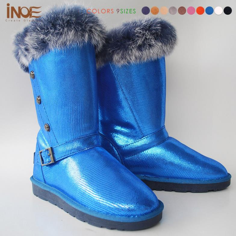 ФОТО 2015 New Fashion style real leather rabbit fur snow boots for women  winter shoes with button high quality waterproof wholesales