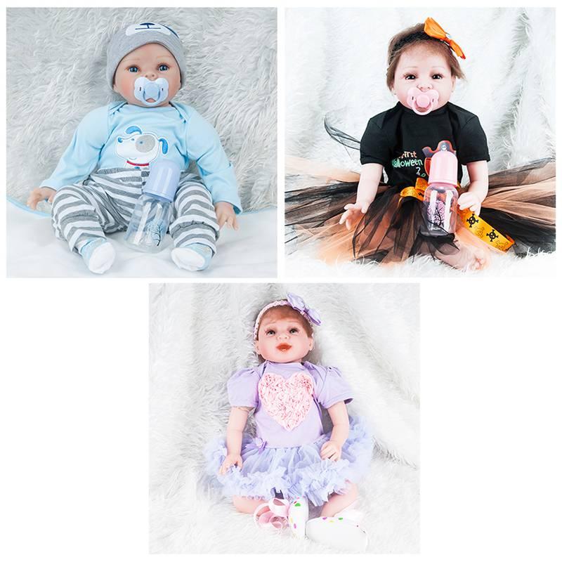 Baby Doll 55cm Simulation Reborn Baby Dolls Cute Kids Sleeping Playmate Soft Silicone Children Birthday Gifts Stuffed Toys