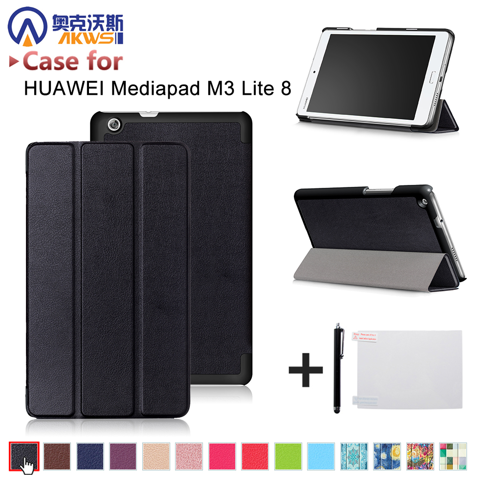 For 2017 Huawei Mediapad M3 Youth Lite 8 CPN-W09 CPN-AL00 8 Tablet PU leather cover case+free stylus+free film ultra slim magnetic stand leather case cover for huawei mediapad m3 lite 8 0 cpn w09 cpn al00 8tablet case with auto sleep