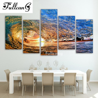 FULLCANG Scenery Diamond Painting 5 Pcs Diamond Embroidery Ocean Waves Full Square Mosaic Embroidery With Diamonds