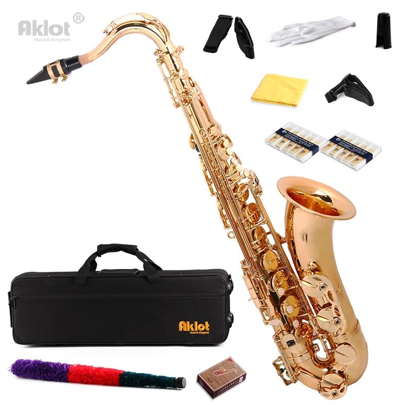 Aklot Bb Gold Beginner Tenor Saxophone Sax Brass Body with Chromatic Tuner