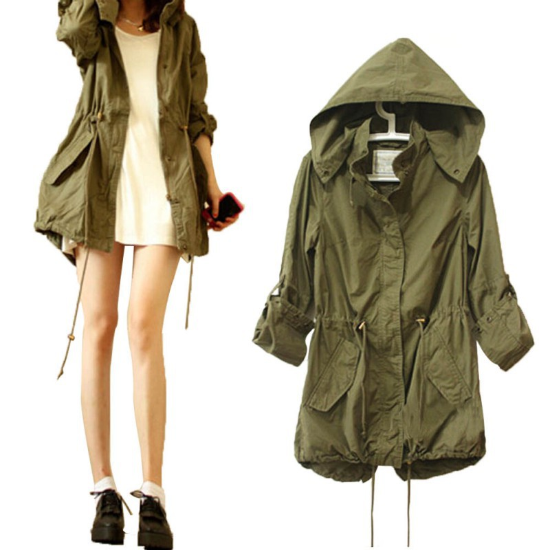 Women Spring Autumn Army Green Military Parka Trench Hooded Coat Jacket Hoody