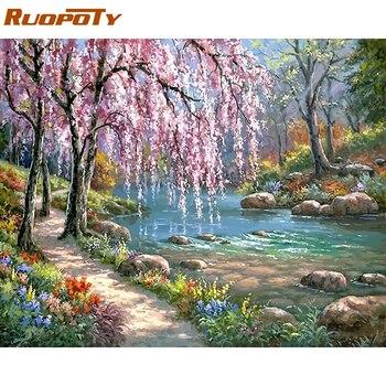 RUOPOTY Rivers Rama zrobić to sam obraz olejny Numery Kits Krajobraz farba akrylowa na płótnie niepowtarzalny prezent Home Decor 40x50cm Arts