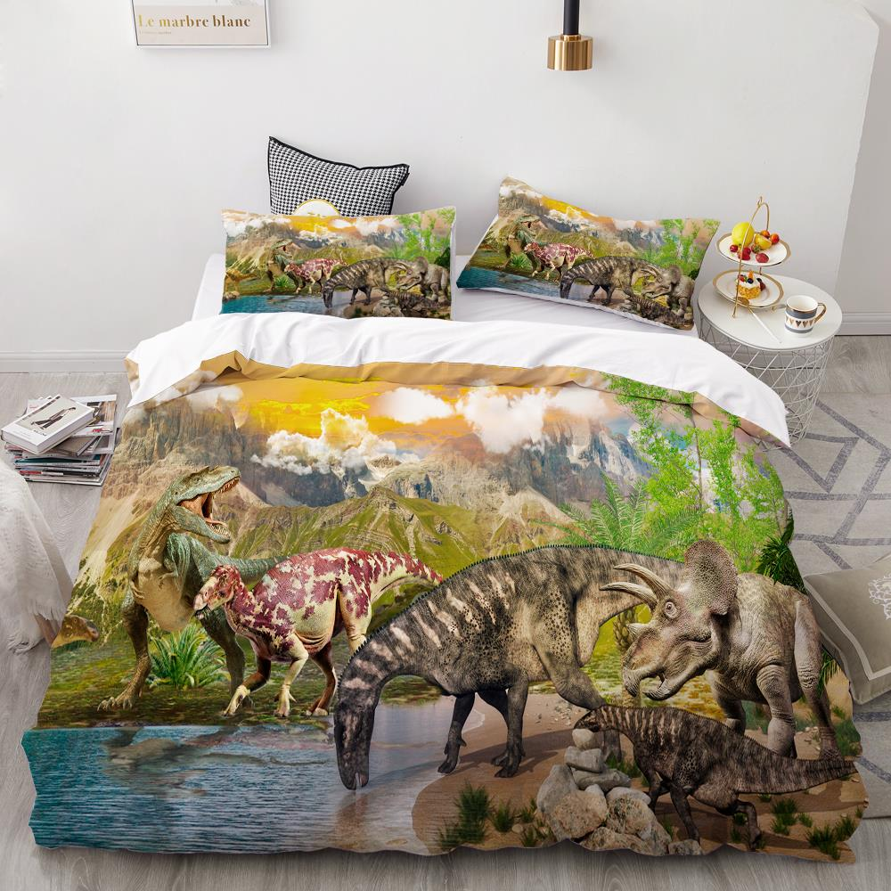 3D Printing Bedding Set,Custom Kids Baby Children Duvet Cover Set,Cartoon Dinosaurs Bed Linens,Boys Bedclothes Drop Shipping