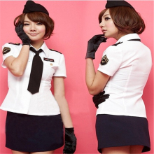 Sexual Lingerie Womens Flight Attendant Uniform Japanese Sweet Role Playing Costume Suit  254