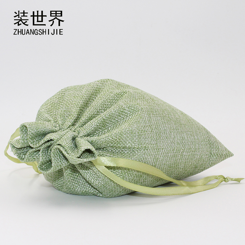 2Pcs 20x30cm Linen Drawstring Pouch Jewelry Bag Logo Printed Jute Pouch Christmas/Wedding Party Food Candy Packaging Bag