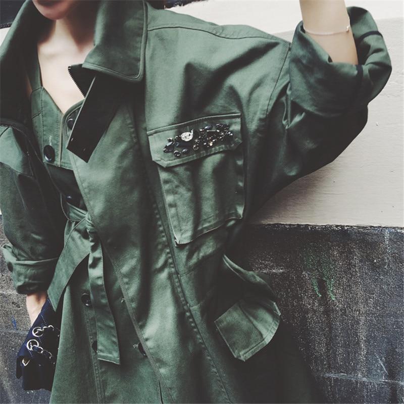 Fashion Beading Leisure Army Green Military Cotton Trench Coat 2017 New Autumn Coat Women Loose Windbreaker Trench Coat TT3322 army green trench coat with drawstring waist