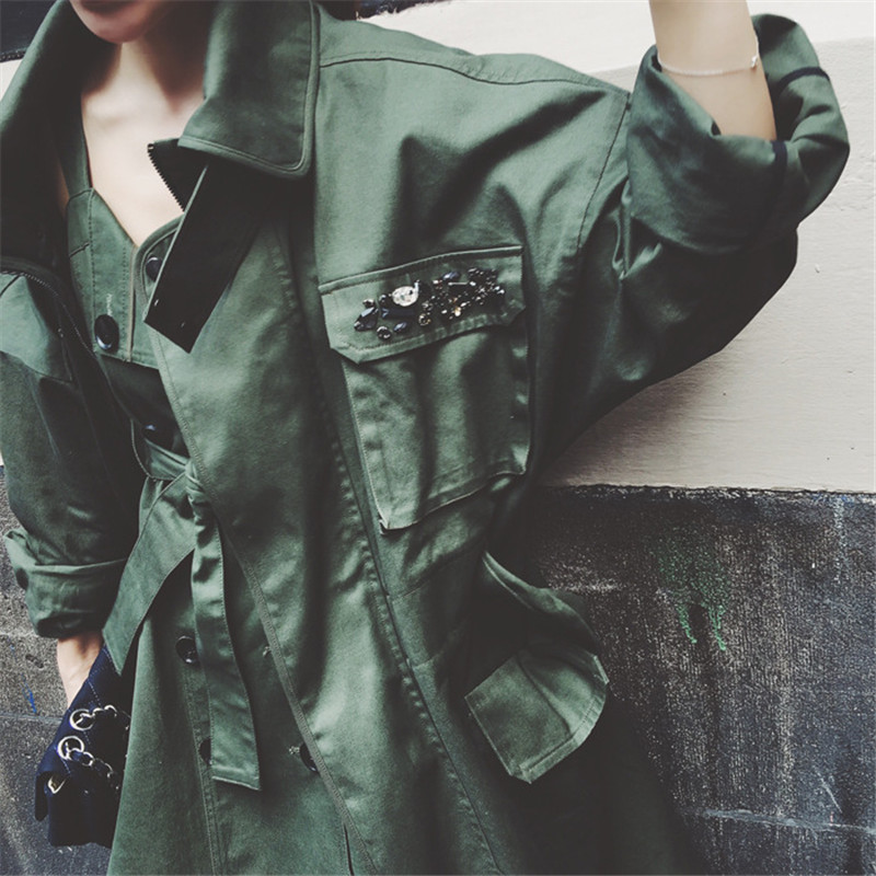 Fashion Beading Leisure Army Green Military Cotton Trench Coat 2017 New Autumn Coat Women Loose Windbreaker Trench Coat TT3322