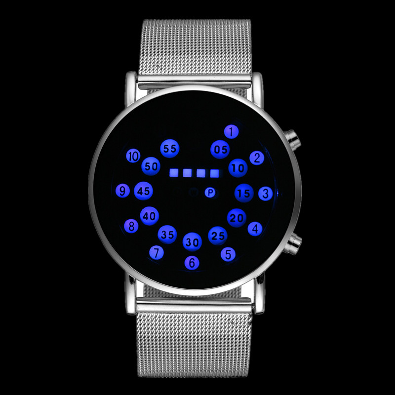 Men Watches Hour-Clock Binary Digital Masculino Fashion Luxury Cool Male LED Montre Mesh