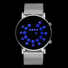 LED Fashion Cool Digital Watch Men Watches Luxury Mesh Binary Watches Male Digital Hour Clock Montre Homme Masculino Relojes
