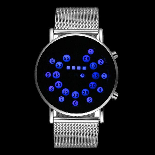 97833b24d51 LED שעון דיגיטלי מגניב אופנה גברים שעוני יוקרה רשת Masculino Relojes זכר  דיגיטלי שעת שעון בינארי