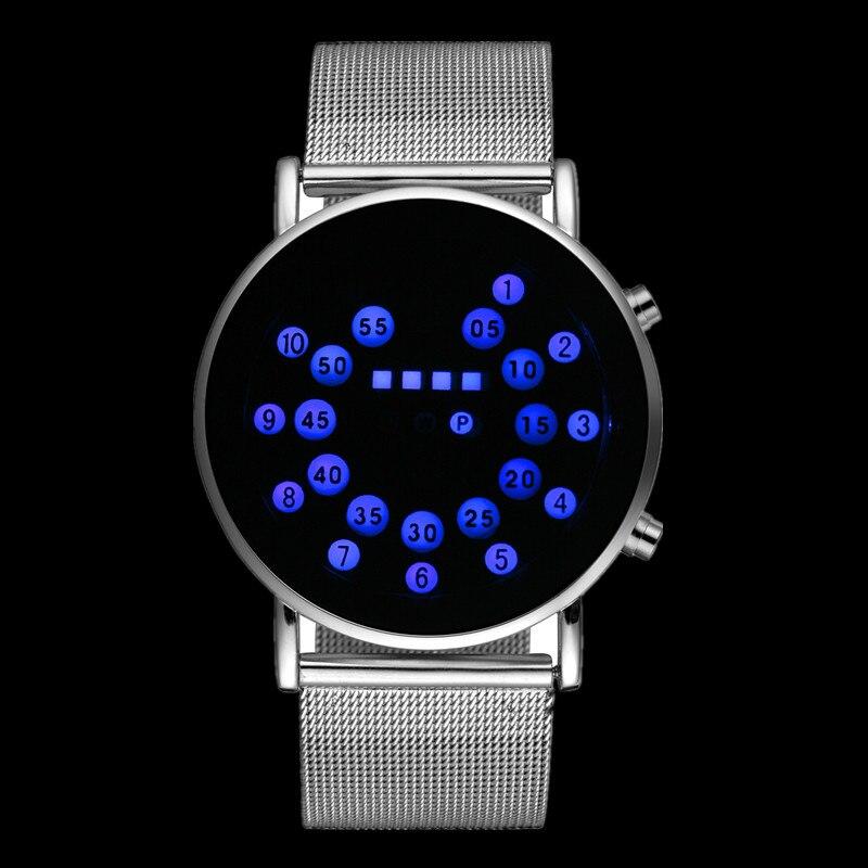 LED Mode Cool Montre Numérique Hommes Montres Luxe Maille Montres Binaires Numérique Mâle Heure Horloge Montre Homme Masculino Relojes