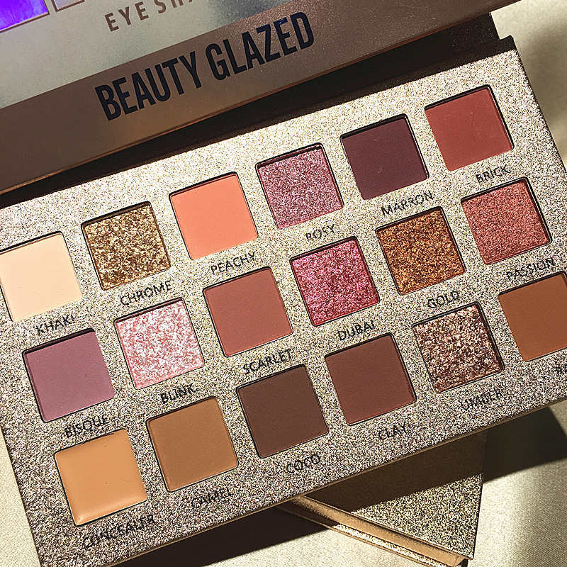 Beauty Glazed 18Colors Nude Eyeshadow Makeup Pigments Waterproof Professional Shimmer Glitter Nude Eye shadow Make up Palette  (1)