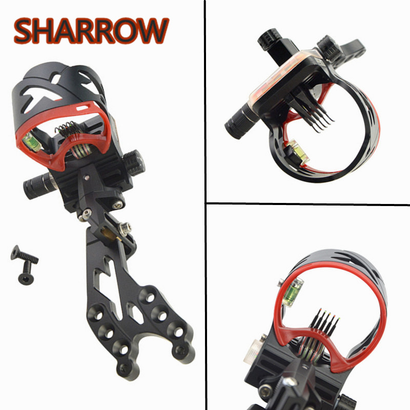 1 Pc AXT45ZM CNC Aluminum Adjustable Compound Bow Sight 5 Pin Fiber Optic Sight For Bow