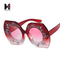 SHAUNA Oversize Femmes Carré Lunettes De Soleil De Luxe Cristal Décoration Dames Gradient Cadre Rouge Lentille Nuances UV400