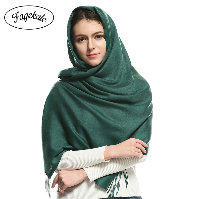 FAGEKALE Summer   Scarves   for   Wraps   Fashion Solid Female hijab Stoles Pashmina Winter Cashmere   Scarves   Foulard Women Shawls Y3
