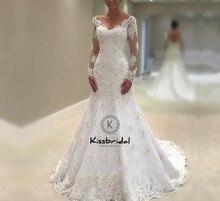 robe de mariee Modest Long Sleeve Wedding Dresses 2018 Appliqued Lace Bride Dress Backless V-neck