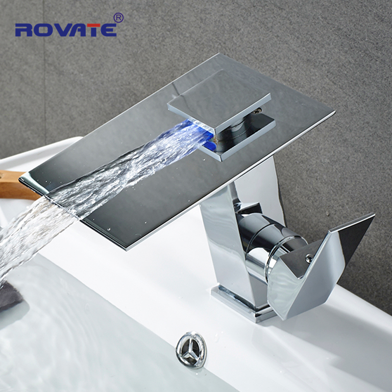 ROVATE LED Basin Faucet Glass Waterfall Mixer Bathroom Sink Taps Chage Color led bathroom sink faucet basin mixer taps 3 color changing glass waterfall spout temperature sensor polished s 007a