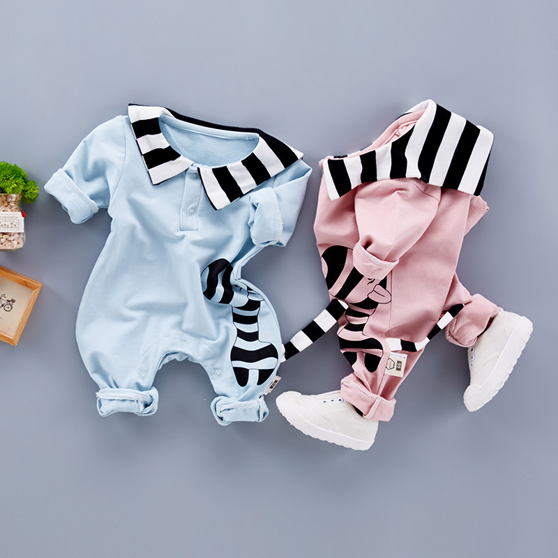 Newborn Baby Clothes Autumn Rompers Baby Boy Long Sleeved Coveralls Cartoon Animal Baby Girl Striped Jumpsuit Cotton Kids Cloth winter autumn fall baby clothes flannel baby boy clothes cartoon animal jumpsuit baby girl rompers long sleeves covered button