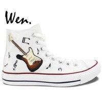 Wen Original Hand Painted Sneakers Design Custom Music Notation Guitar High Top Men Women's Canvas Shoes Birthday Gifts