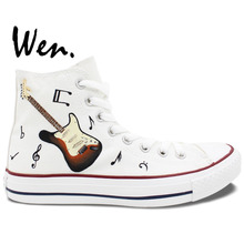 Wen Original Hand Painted Sneakers Design Custom Music Notation Guitar High Top Men Women's Canvas Shoes Birthday Gifts