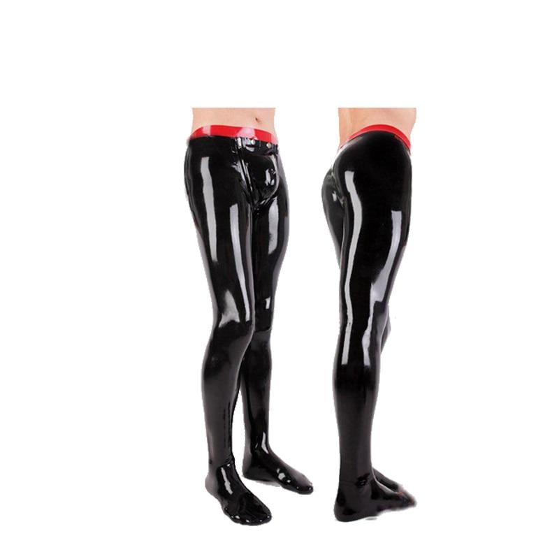 Latex hommes taille rouge et noir taille haute pantalon serré avec chaussettes collants pièce costume taille XXS-XXL