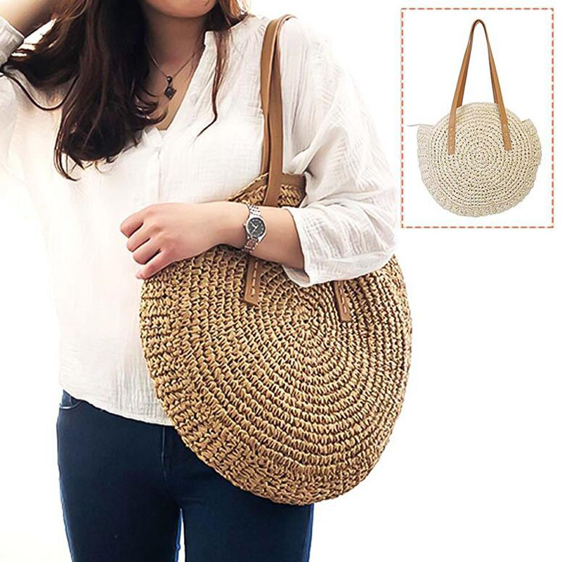 Casual Handbag Beach-Bag Rattan Totes Shoulder-Bag Woven-Straw Messenger Round Women