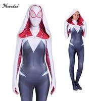 Spider Gwen Stacy Spandex Lycra Zentai Spiderman Costume For Halloween Mask Cosplay Women Female Spider Suit Anti Venom Gwen