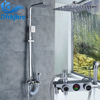Bathroom LED Chrome 8 Faucet Hot and Cold Water Mixer Valve Faucets Rainfall Taps Temperature Display High Pressure Spray Gun