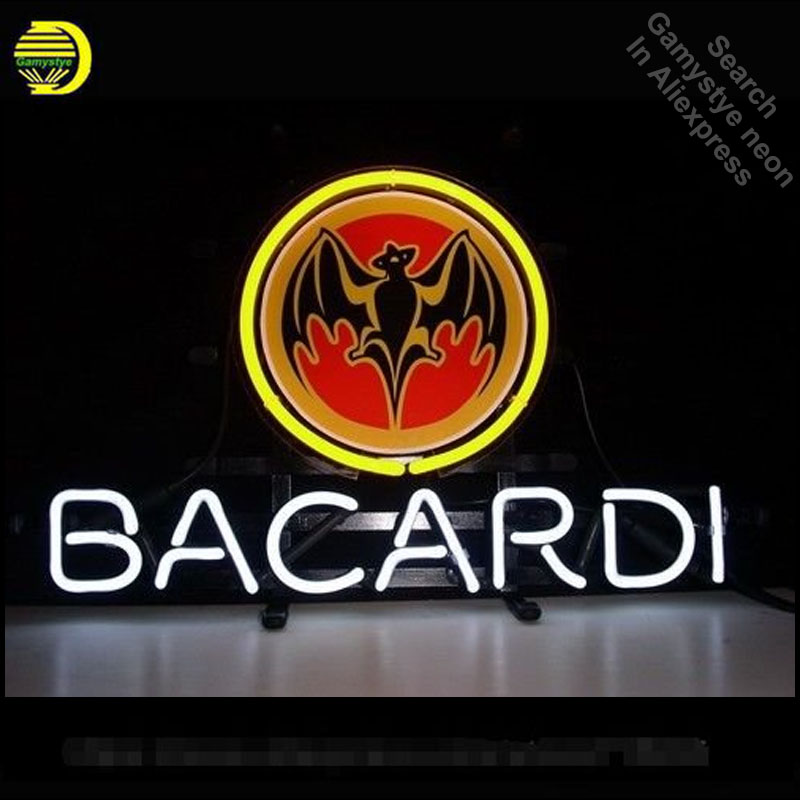 Neon Sign for Bacardi Distillery Neon Bulbs Sign Beer Bar Pub Advertise Store Display Neon Tube Sign handcraft Publicidad lamp