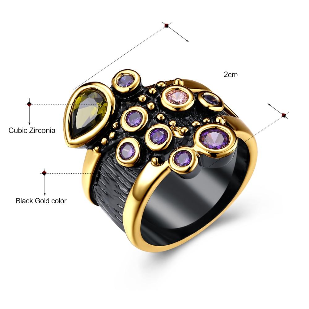 DreamCarnival Vintage Women Ring Multi Shape Farverige CZ Bryllup - Mode smykker - Foto 6