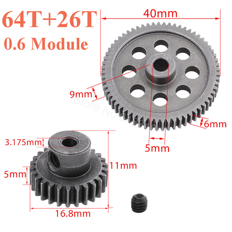 HSP 11184 Steel Metal Diff Differential Gear Utama 64T 11176 540 Motor 26T RC Parts Untuk 1/10 Electric Buggy XSTR Pro Trak Redcat