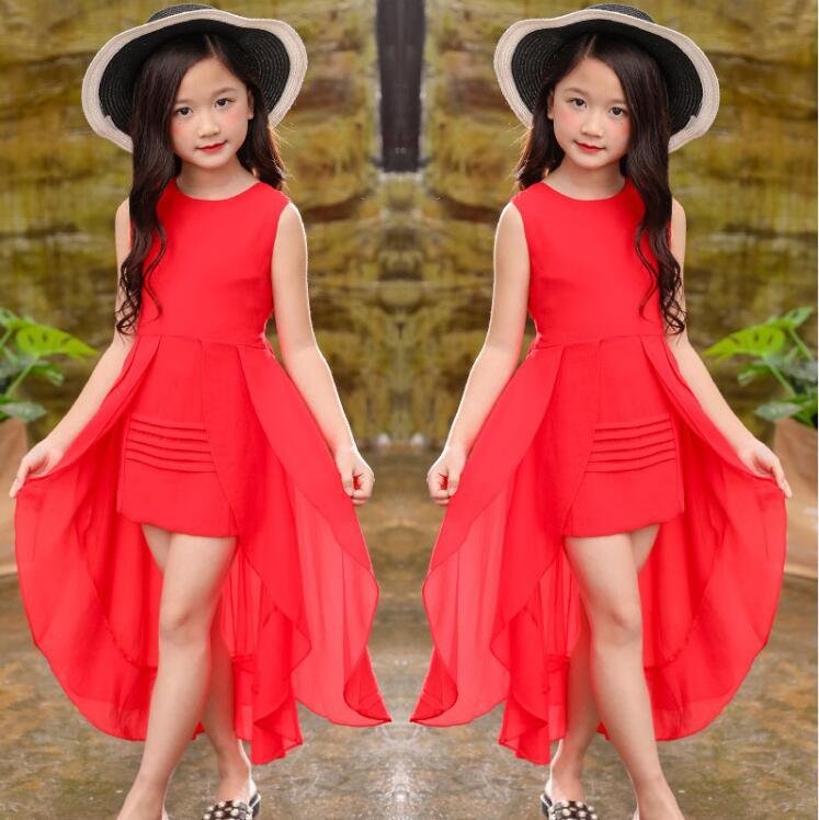Kids Girls Print Dress Summer Short Neck Pleated Princess Party Skirt Age 8 9 10