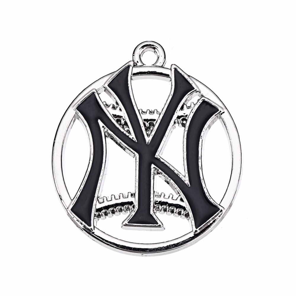 Newest NY Yankee Pendant Charms Enamel Baseball Baseball Team Logo Charm For DIY Necklac ...