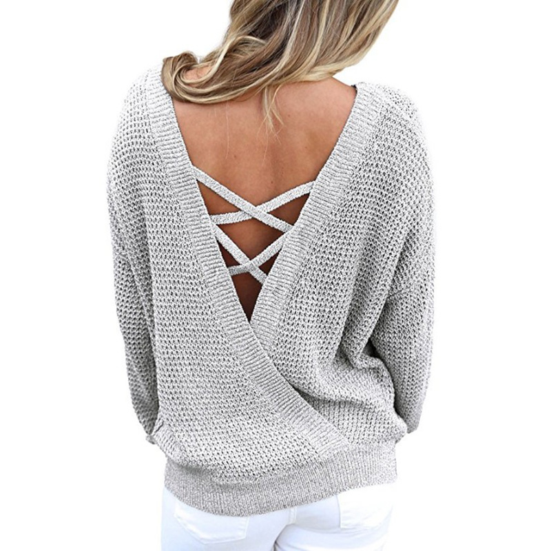 2018 new loose large code V collar sweater pure colored bandage back standard solid pullovers casual sexy clothes for sweaters