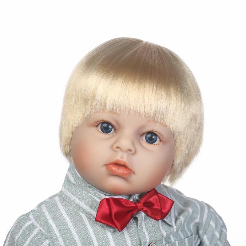 Npk 70cm Silicone Reborn Baby Dolls Toy Blonde Hair Boy Toddler