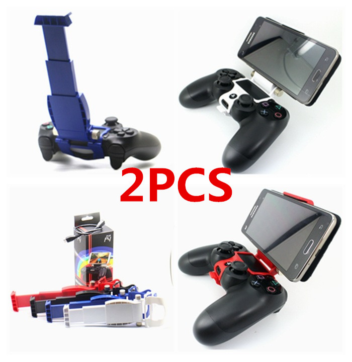 2PCS Cellphone Clamp Mobile Phone Smart Clip Holder Handle Bracket Support Stand for PS4 Playstation 4 PS4 Pro Slim Controller