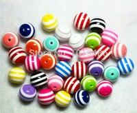 50 cái 20 mét Vòng Stripe Beads Chunky Gumball Bubblegum Acrylic Loose Hạt Chunky Hạt Cho Necklace Trang Sức Làm DIY phụ kiện