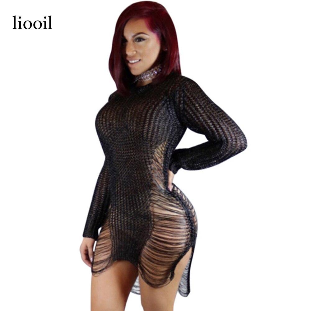 Liooil Black Knitted Hollow Out Sweater Dress 2018 Summer Autumn Long Sleeve O Neck Sides Split Bodycon Mini Sexy Club Dresses женское платье summer dress 2015cute o women dress