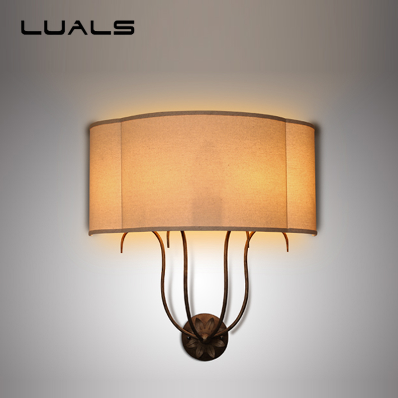 LUALS American Style Vintage Wall Lamp Hotel Lobby Cloth Lamps Shade Wall Light Creative Sitting Room Bedroom Art Deco Lighting jungle leaves cloth wall art 3pcs