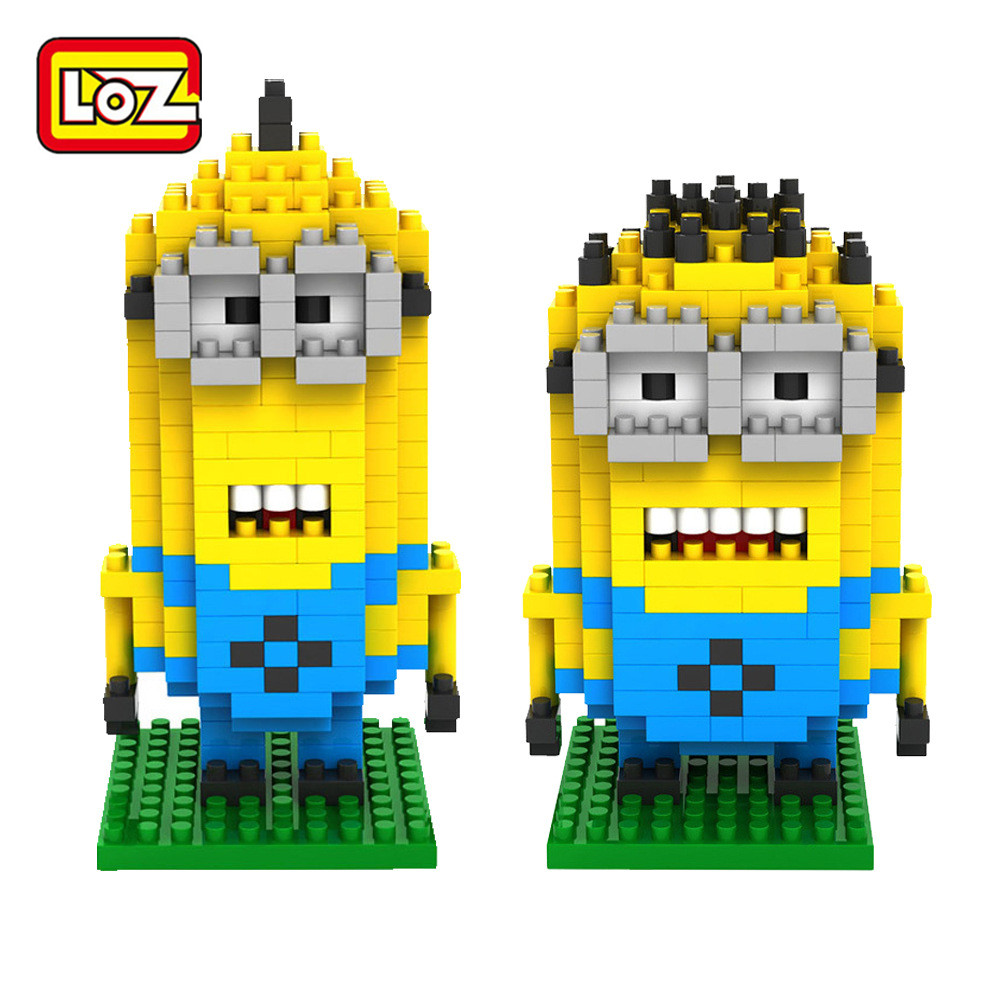 LOZ Nano Building Block Tim Minions Green Monster Big Eye Monsters  Anime Characters Action Figure 3D Bricks Toys  Birthday Gift
