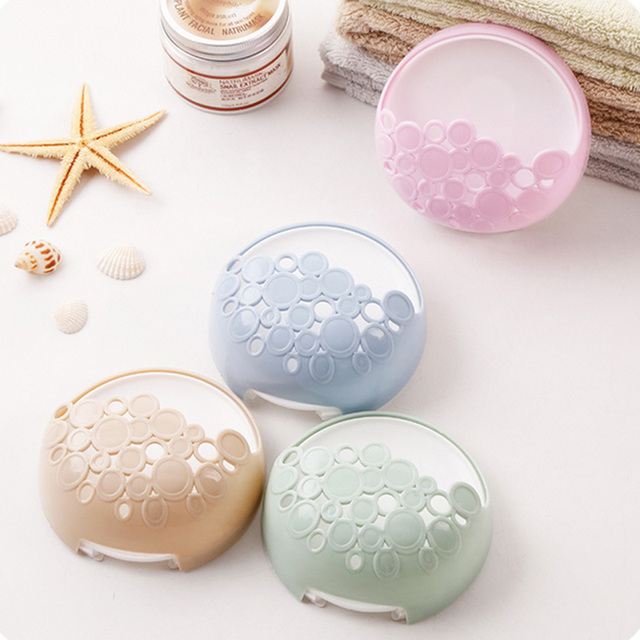 4color No-nail Multi-functional Sucker Soap Dish Bathroom Kitchen Wall-mounted Drain Suction Cup Hollow Soap Shelf Holder JXS 1