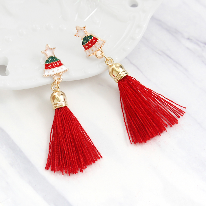 Fashion Christmas Stud Earring Santa Claus Gift Box Christmas Tree Elk Antlers Star Crystal Tassel Earrings Women Christmas Gift