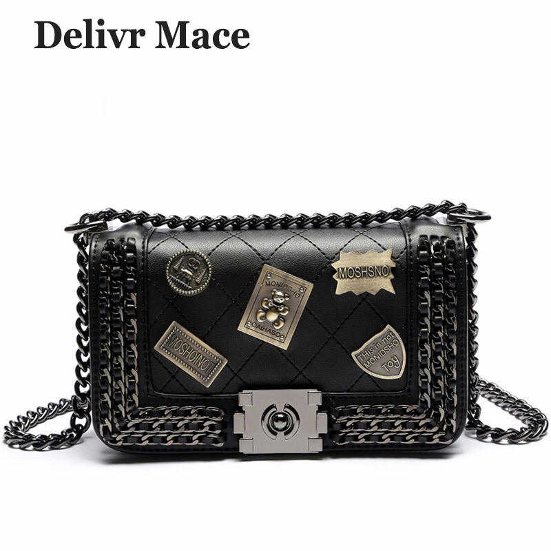 Bags For Women 2018 Leather Newest Fashion Black Rock Badge Shoulder Bags Women Sac A Main Girls Cross Body Bag Ladies Hand bags barbie 2018 women s shoulder bag leather simple style black ladies handbag female fashion cross body bags for women