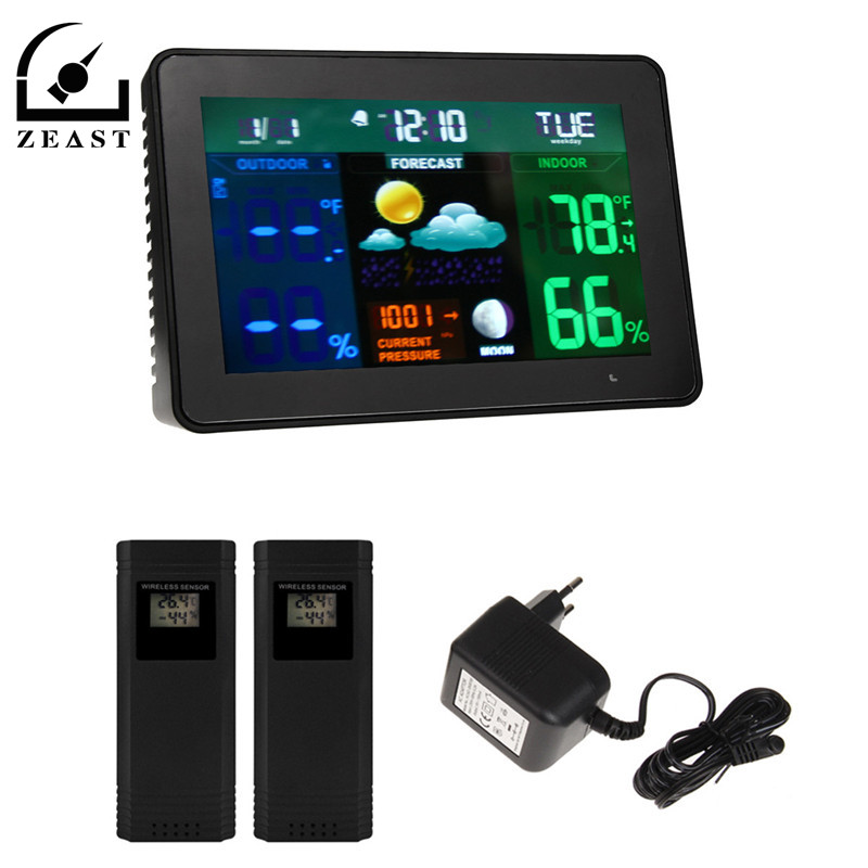 2 Wireless Sensor Digital Weather Station Forecast Thermometer Hygrometer EU Plug Full-Color Screen Temperatures Monitor wireless color weather station indoor outdoor forecast temperature humidity alarm and snooze thermometer hygrometer us eu plug