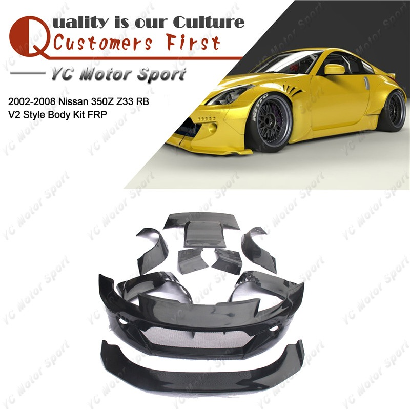 FRP Fiber Glass Bodykit Fit For 2002-2008 350Z Z33 RB V2 Style Body Kit Bumper Lip Fender Diffuser Spat Spoiler Wing image