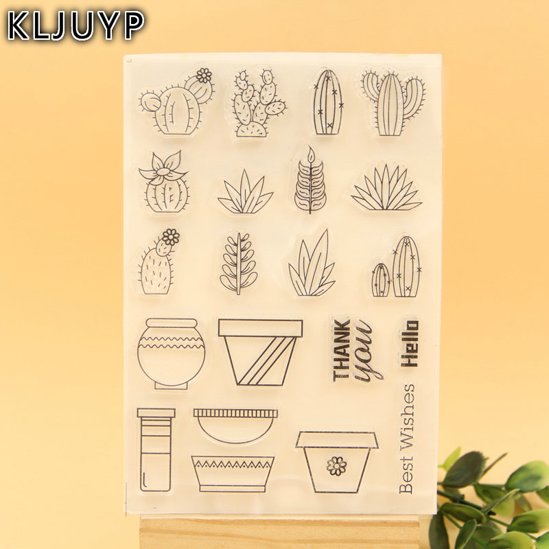 KLJUYP Succulent Plants Transparent Clear Silicone Stamp/Seal for DIY scrapbooking/photo album Decorative clear stamp sheets lovely animals and ballon design transparent clear silicone stamp for diy scrapbooking photo album clear stamp cl 278