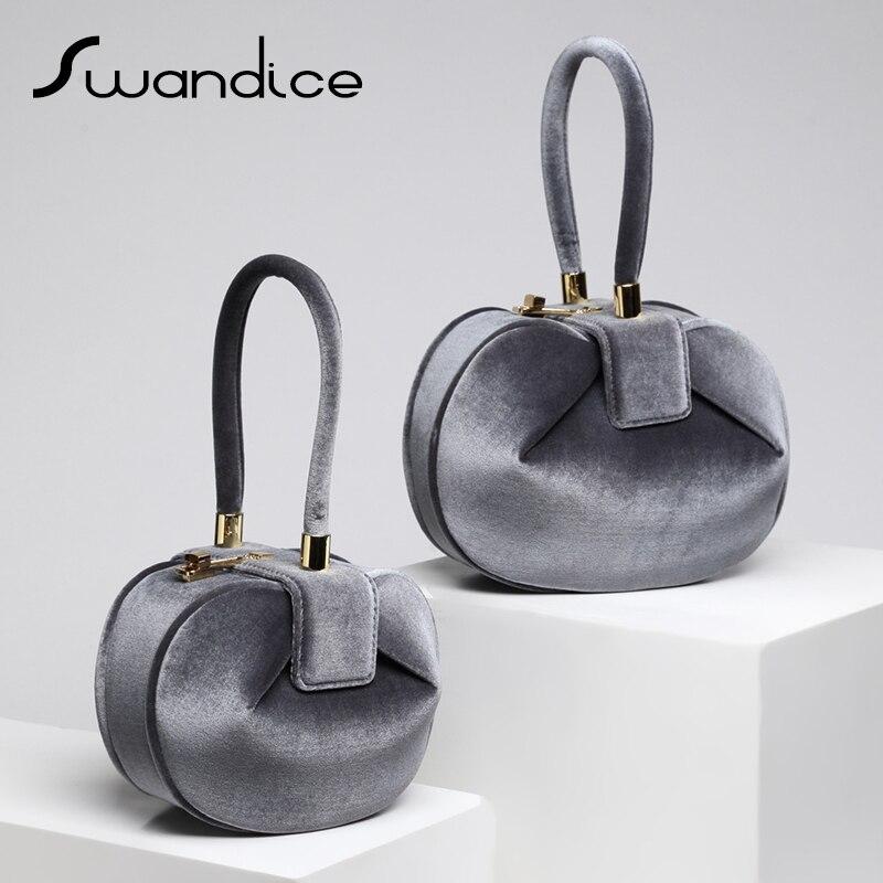 2019 Chic Vintage Velvet Velour Fabric Small Elegant Pillow Boston Box Barrel Handbags Clutch Evening Bag