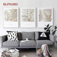 İskandinav süs boyama yüksek çözünürlüklü fern bitki yağlıboya bırakır, oturma odası yatak odası duvar dekoratif resim